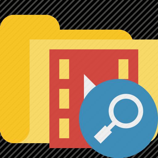 film, folder, media, movie, search, video icon