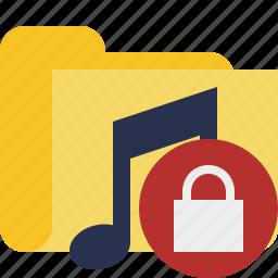 audio, folder, lock, media, music, songs icon
