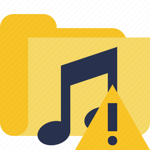 audio, folder, media, music, songs, warning icon
