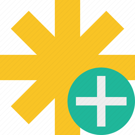add, asterisk, password, pharmacy, star, yellow icon