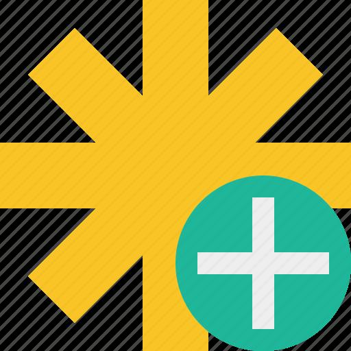 add, asterisk, password, pharmacy, star, yellow icon
