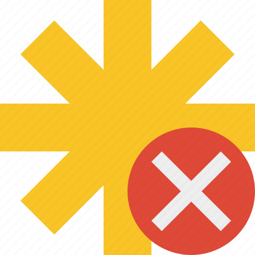 asterisk, cancel, password, pharmacy, star, yellow icon