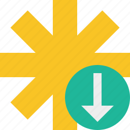asterisk, download, password, pharmacy, star, yellow icon