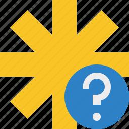asterisk, help, password, pharmacy, star, yellow icon