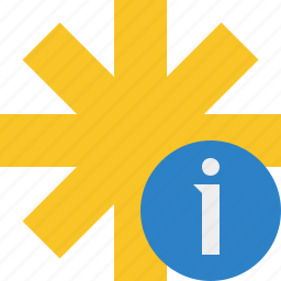 asterisk, information, password, pharmacy, star, yellow icon