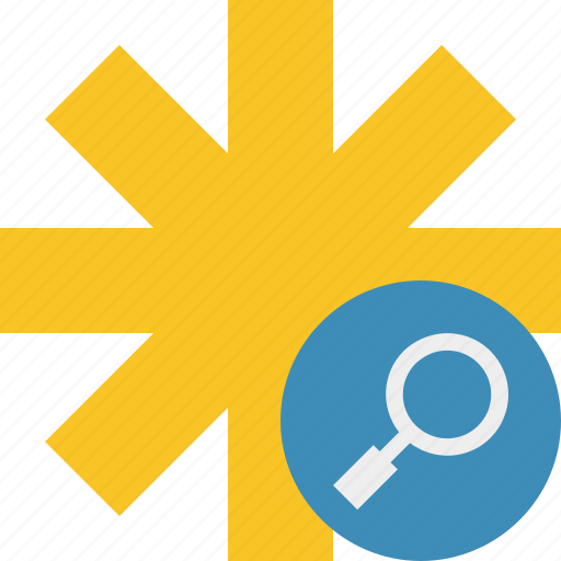 asterisk, password, pharmacy, search, star, yellow icon