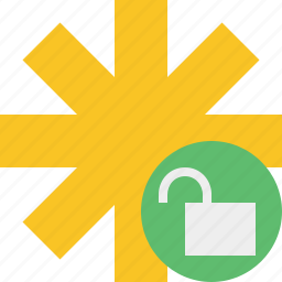asterisk, password, pharmacy, star, unlock, yellow icon
