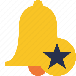 alarm, alert, bell, christmas, notification, star icon