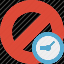 block, cancel, clock, lock, stop icon