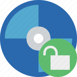 bluray, compact, digital, disc, disk, dvd, media, unlock icon