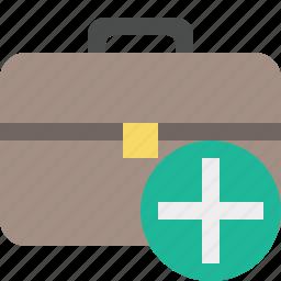 add, bag, briefcase, business, portfolio, suitcase, work icon