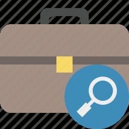 bag, briefcase, business, portfolio, search, suitcase, work icon