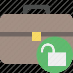 bag, briefcase, business, portfolio, suitcase, unlock, work icon