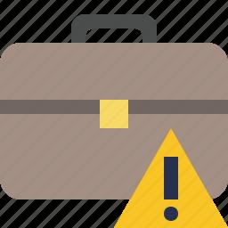 bag, briefcase, business, portfolio, suitcase, warning, work icon