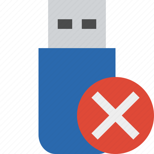 cancel, data, disk, drive, flash, removable, storage, usb icon
