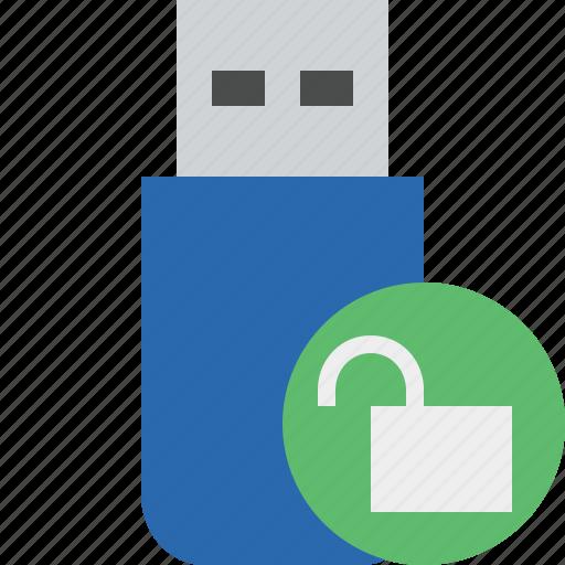 data, disk, drive, flash, removable, storage, unlock, usb icon