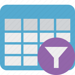 cell, data, database, filter, grid, row, table icon
