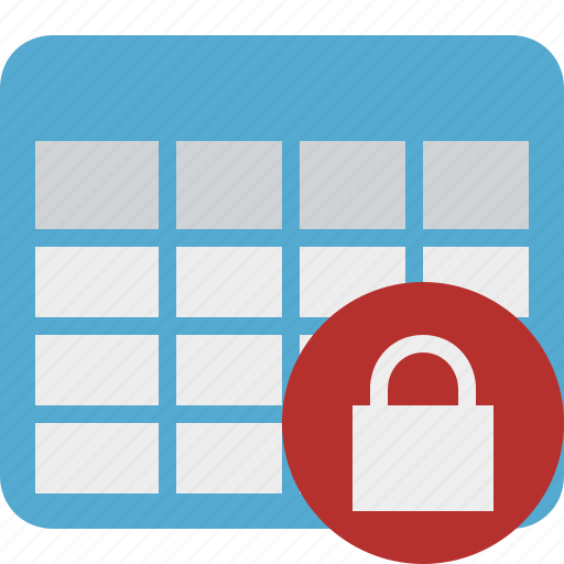 cell, data, database, grid, lock, row, table icon