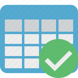 cell, data, database, grid, ok, row, table icon