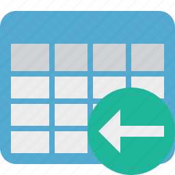 cell, data, database, grid, previous, row, table icon