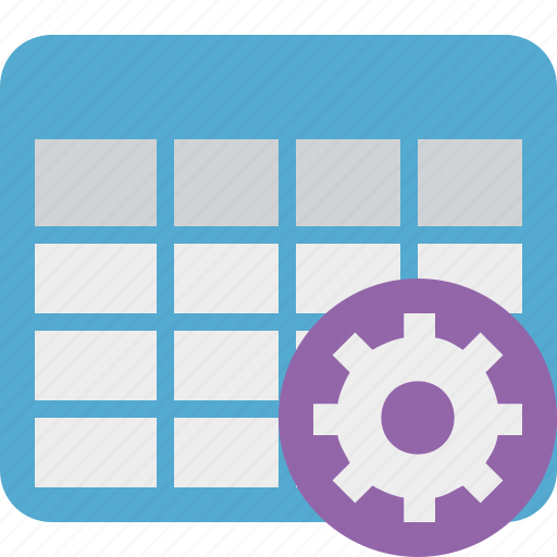 cell, data, database, grid, row, settings, table icon