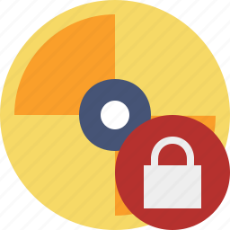 cd, disc, disk, dvd, lock icon