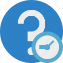 clock, faq, help, question, support icon