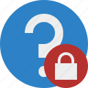 faq, help, lock, question, support icon