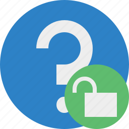 faq, help, question, support, unlock icon