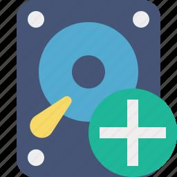 add, data, disk, drive, hard, hdd, storage icon