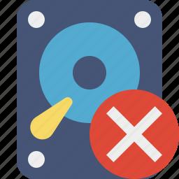 cancel, data, disk, drive, hard, hdd, storage icon