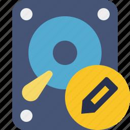 data, disk, drive, edit, hard, hdd, storage icon