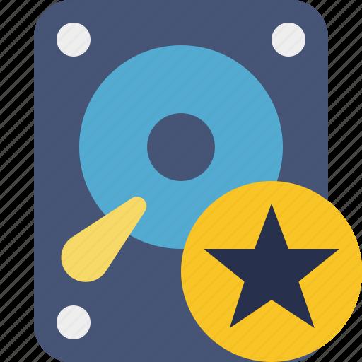 data, disk, drive, hard, hdd, star, storage icon