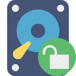 data, disk, drive, hard, hdd, storage, unlock icon