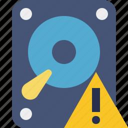data, disk, drive, hard, hdd, storage, warning icon