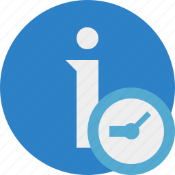 about, clock, data, details, help, information icon