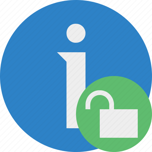 about, data, details, help, information, unlock icon