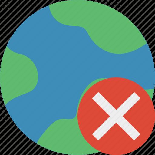cancel, earth, internet, planet, web, world icon