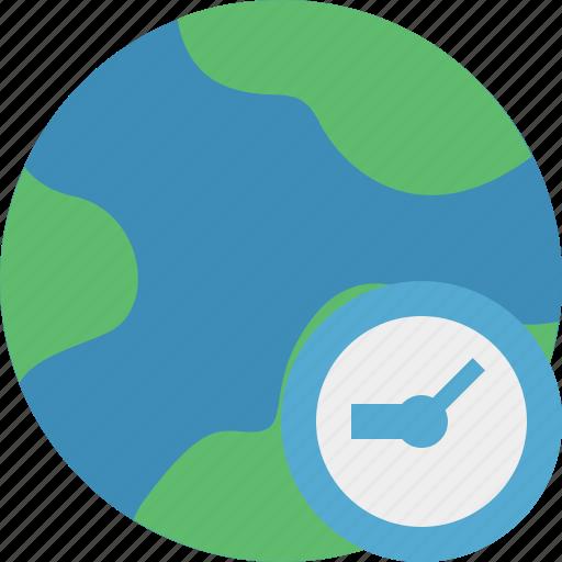 clock, earth, internet, planet, web, world icon