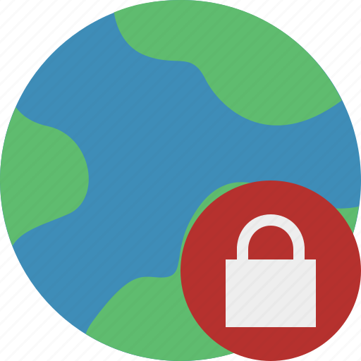 earth, internet, lock, planet, web, world icon