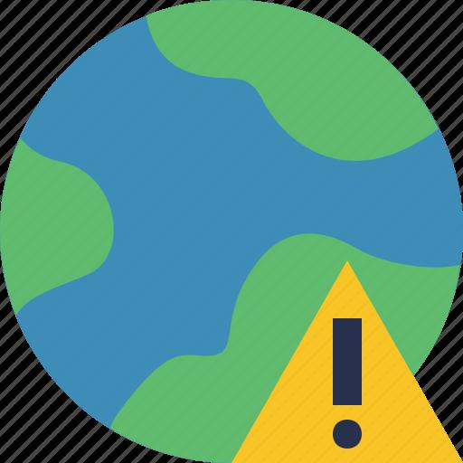 earth, internet, planet, warning, web, world icon