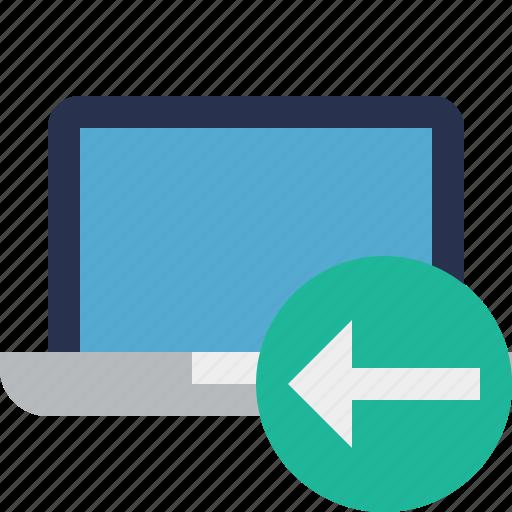 computer, laptop, notebook, pc, previous, screen icon