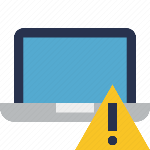 computer, laptop, notebook, pc, screen, warning icon
