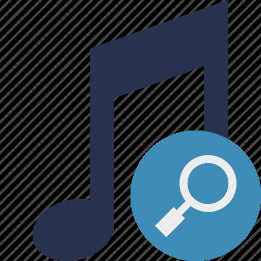 audio, multimedia, music, note, search, sound icon