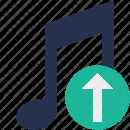 audio, multimedia, music, note, sound, upload icon