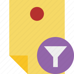 document, filter, memo, note, pin, reminder, sticker icon