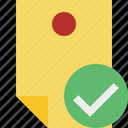 document, memo, note, ok, pin, reminder, sticker icon