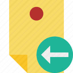 document, memo, note, pin, previous, reminder, sticker icon