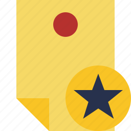 document, memo, note, pin, reminder, star, sticker icon