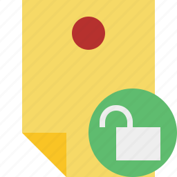 document, memo, note, pin, reminder, sticker, unlock icon